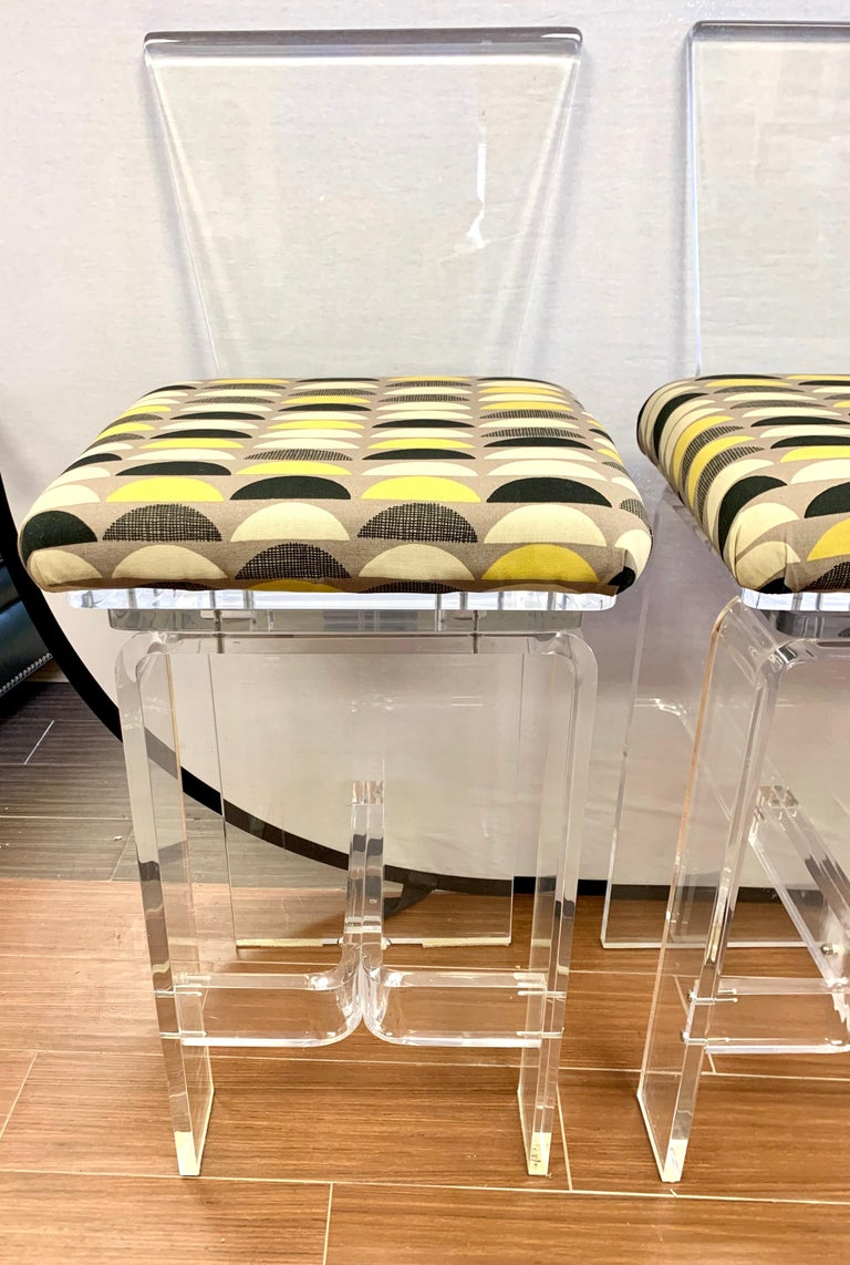 American Midcentury Lucite Swivel Bar Stools, New Upholstery, Set of 3 For Sale