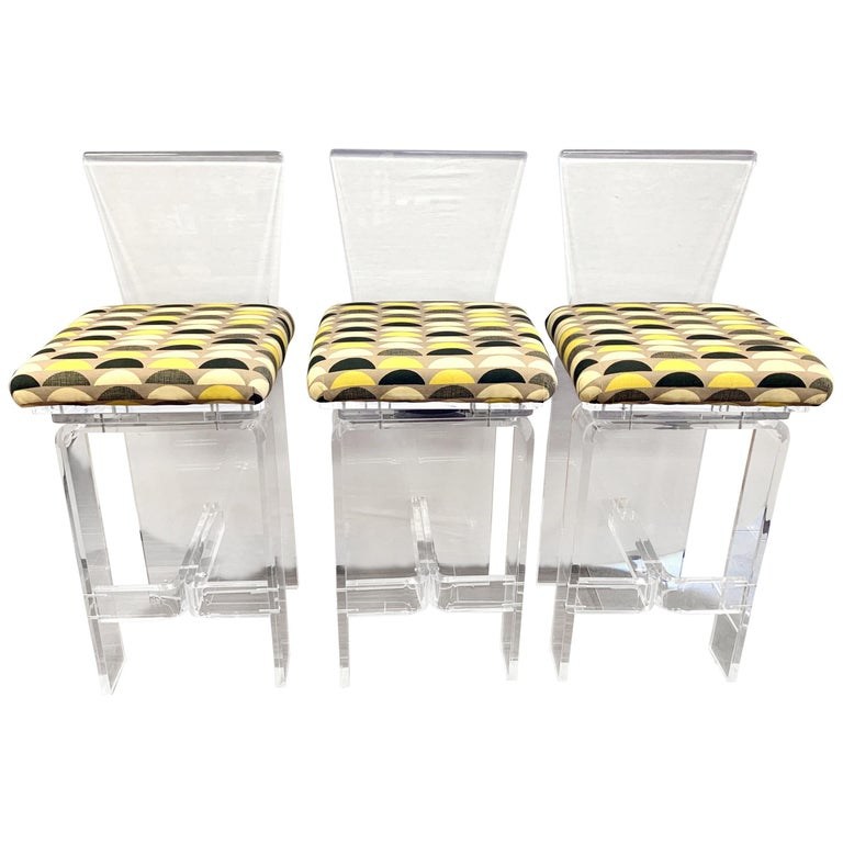Midcentury Lucite Swivel Bar Stools, New Upholstery, Set of 3 For Sale