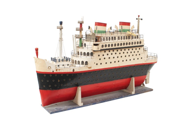 Painted Mid-Century Luxury Liner Ship Model For Sale
