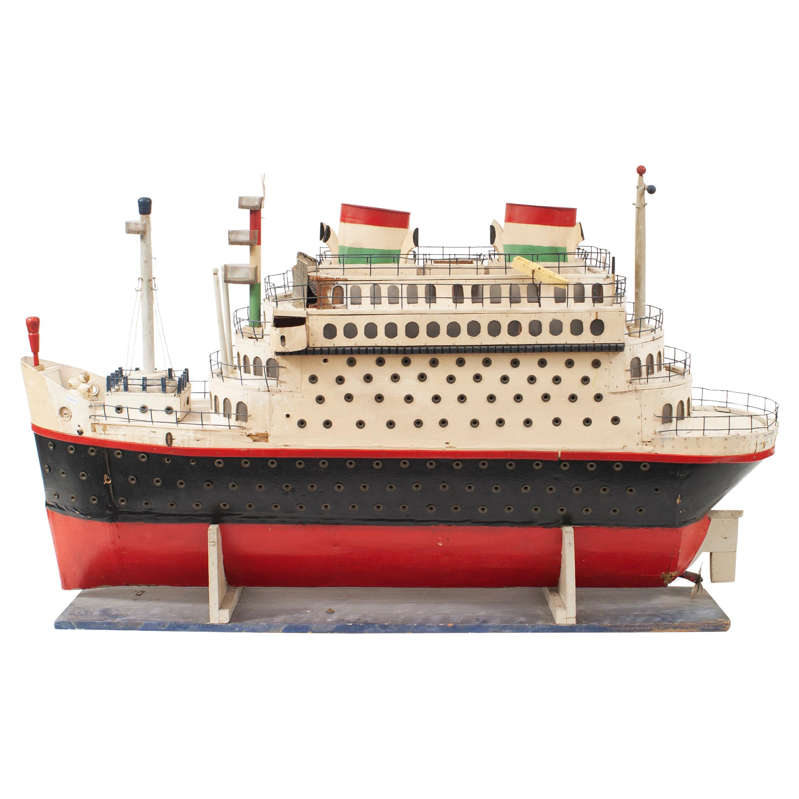 Mid-Century Luxury Liner Ship Model
