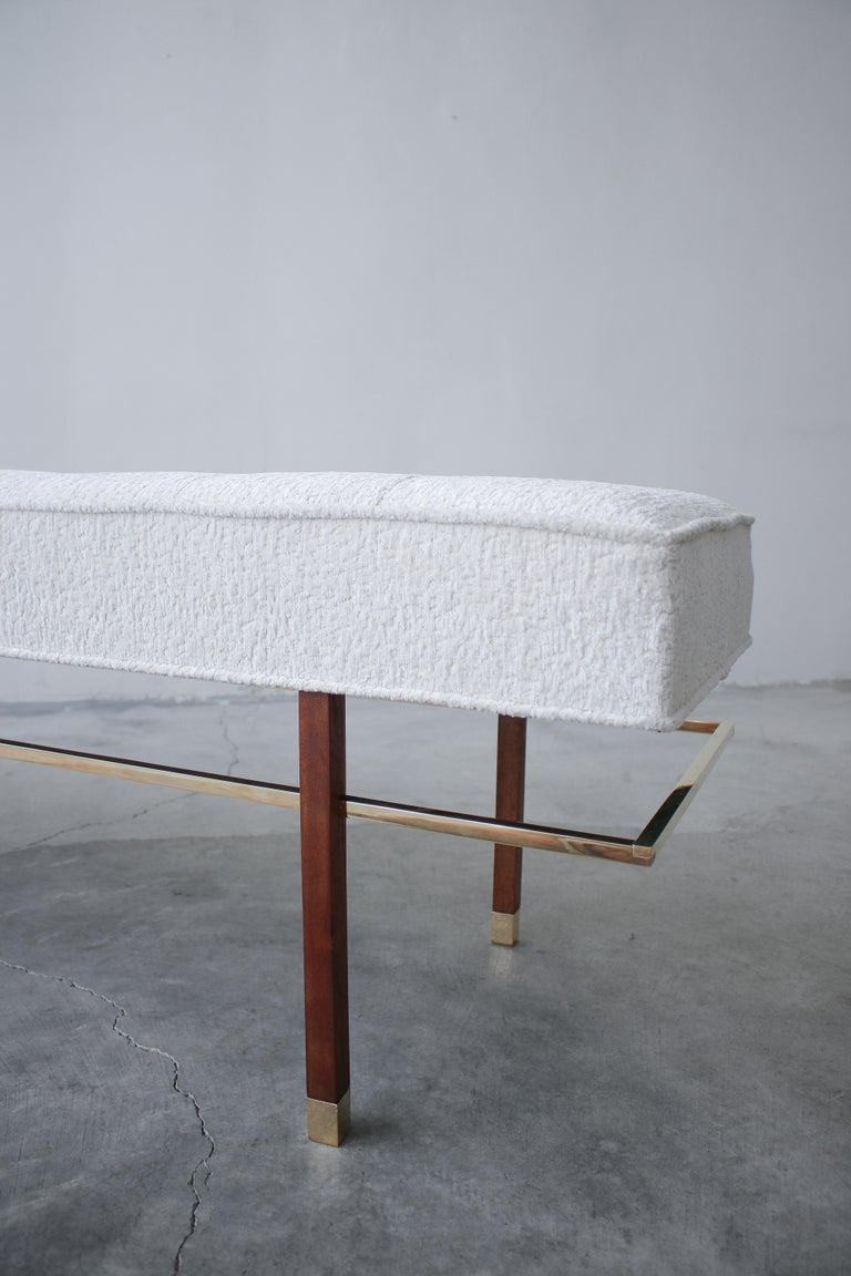Mid-Century Modern Midcentury Mahogany and Brass Bench by Harvey Probber For Sale