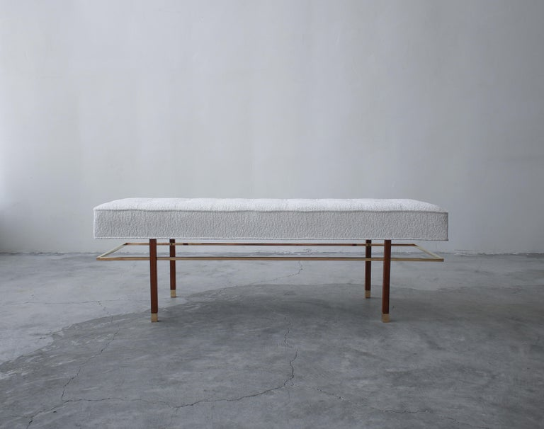 Midcentury Mahogany and Brass Bench by Harvey Probber In Good Condition For Sale In Las Vegas, NV