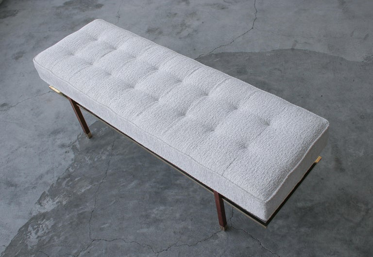 20th Century Midcentury Mahogany and Brass Bench by Harvey Probber For Sale