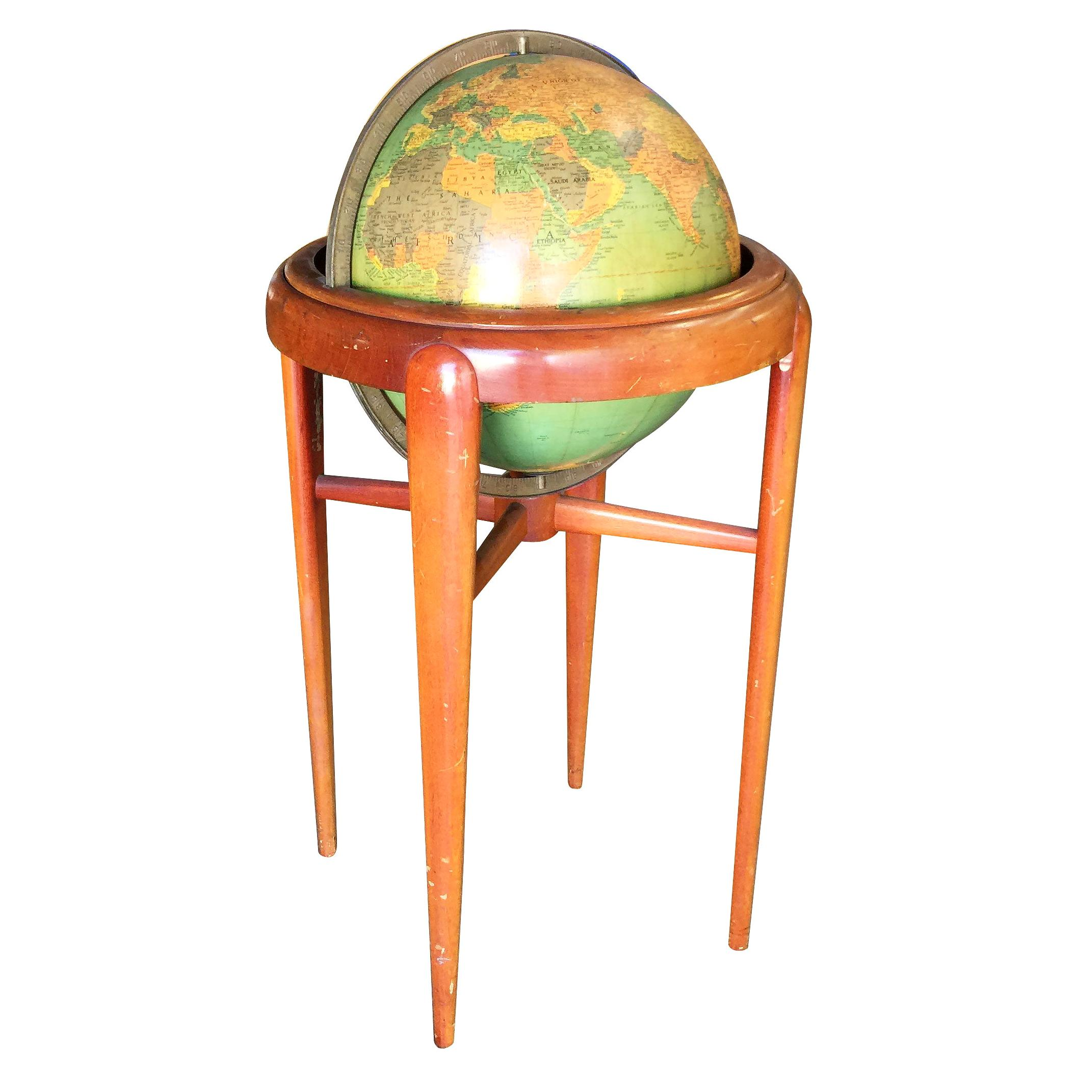 Midcentury Mahogany Floor Globe by Replogle