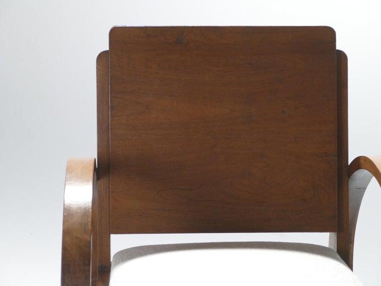Midcentury Mahogany Modernist Armchairs Michel Dufet, 1940s 4