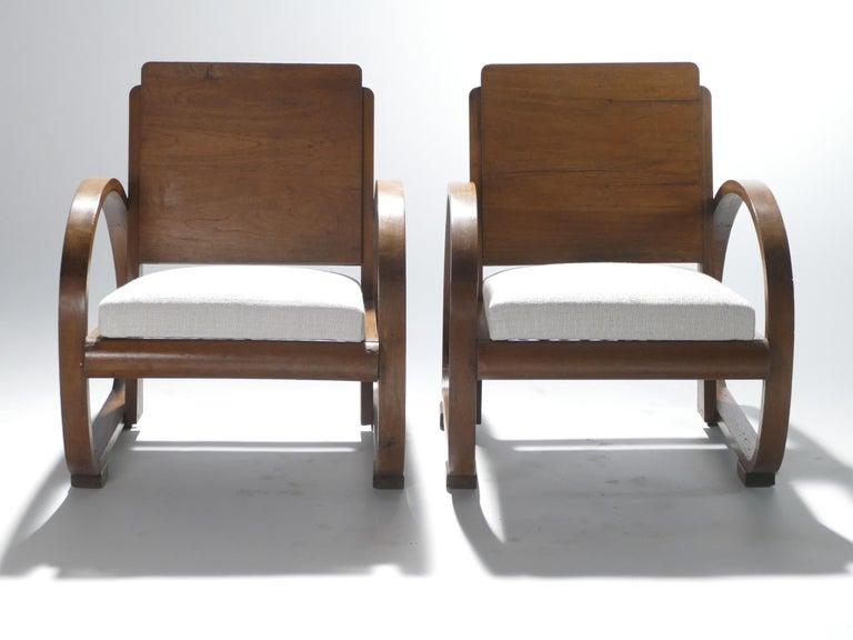 Mid-Century Modern Midcentury Mahogany Modernist Armchairs Michel Dufet, 1940s
