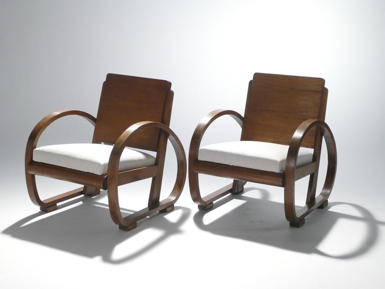 French Midcentury Mahogany Modernist Armchairs Michel Dufet, 1940s
