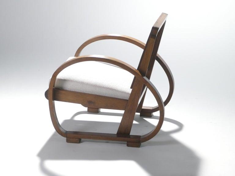 Mid-20th Century Midcentury Mahogany Modernist Armchairs Michel Dufet, 1940s