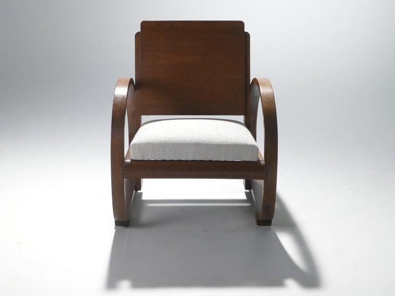 Cotton Midcentury Mahogany Modernist Armchairs Michel Dufet, 1940s