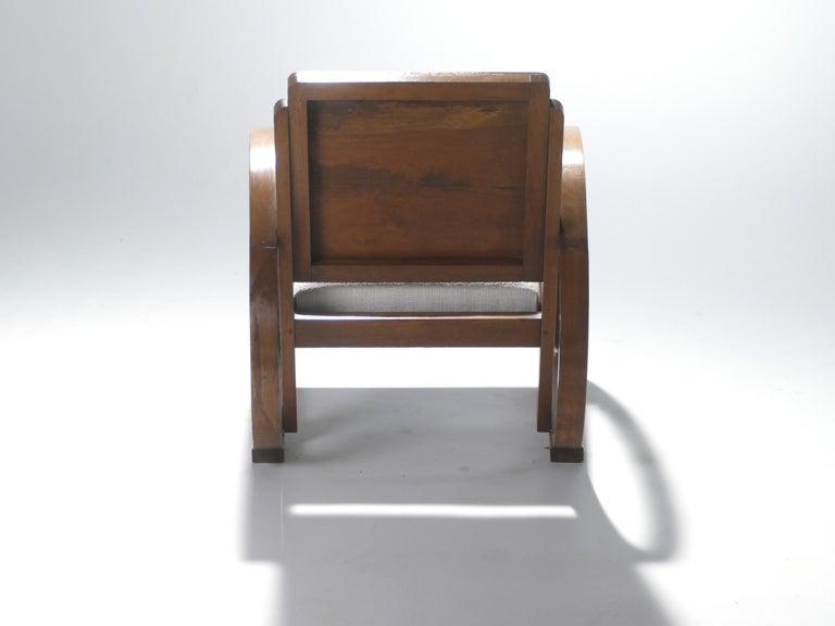 Midcentury Mahogany Modernist Armchairs Michel Dufet, 1940s 1