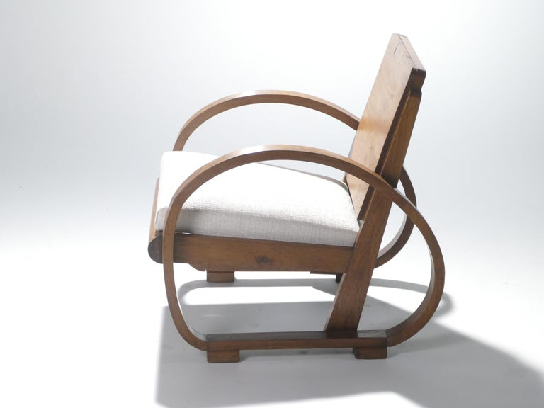 Midcentury Mahogany Modernist Armchairs Michel Dufet, 1940s 2