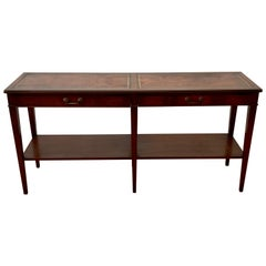 Mid Century Mahogany Two Drawer Console Table by W & J Sloan