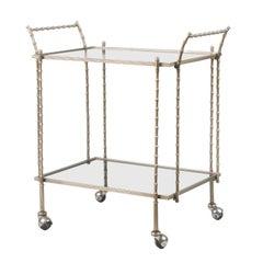 Midcentury Maison Baguès Faux Bamboo Bronze Bar Cart