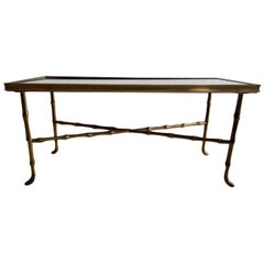 Mid-Century Maison Bagues Style Brass Faux Baboo Coffee Table