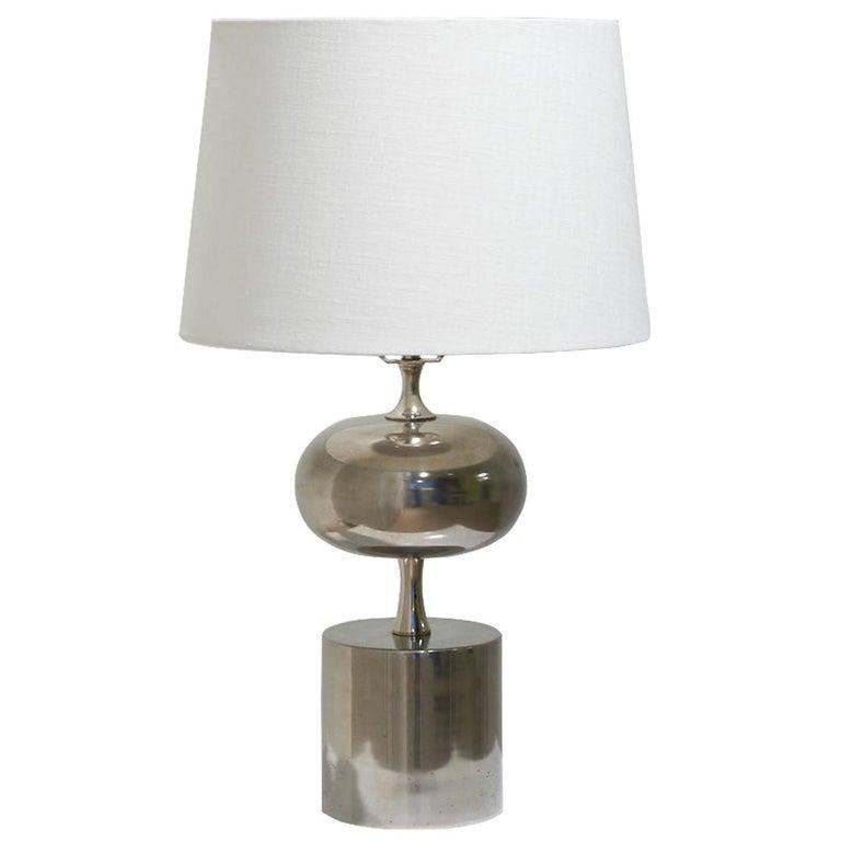 Mid Century Maison Jansen Inspired Belgian Chrome White Shaded Table Lamp For