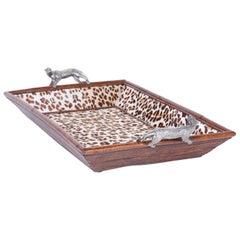 Midcentury Maitland-Smith Rattan Leopard Tray