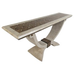 Midcentury Maitland Smith Tessellated Stone Console Table