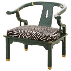 Midcentury Malachite Ming Side Chair