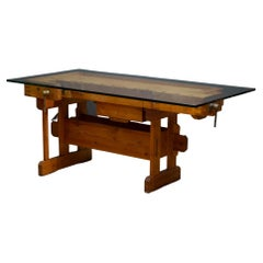 Mid-Century Maple Carpenter's Workbench Desk/Console c.1960
