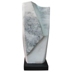 Mid Century Marble Abstract Sculpture On Wood Plinth