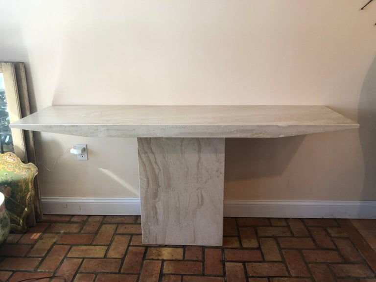 Mid-Century Modern marble console table. Minimalist lines with an organic feel. Perfect for an entry way or for a flat screen TV. Please confirm dimensions prior to purchase.