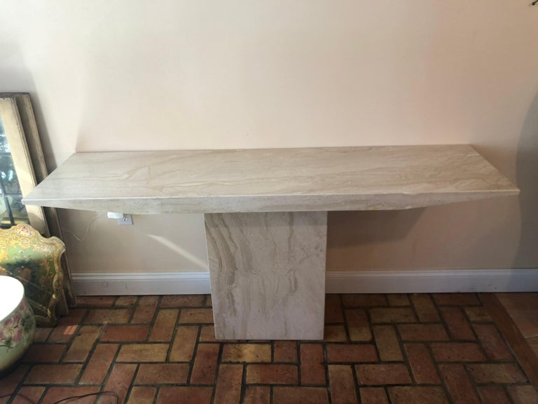 Polished Midcentury Marble Console Table For Sale