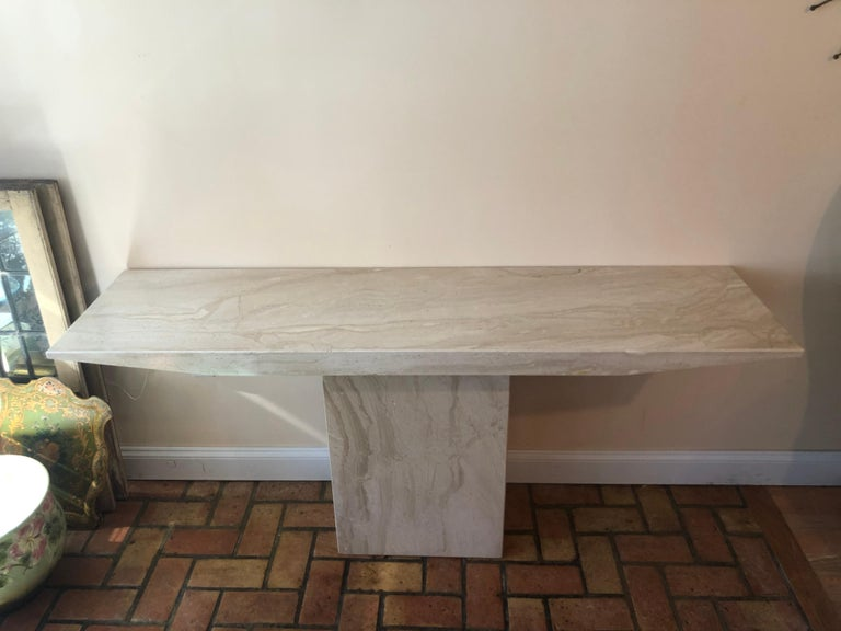 Midcentury Marble Console Table In Good Condition For Sale In Redding, CT