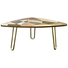 Midcentury Marble Mosaic Table with Brass Details Attributed to Berthold Müller
