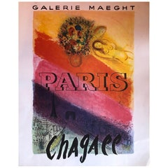 Midcentury Marc Chagall Galerie Maeght, Paris Lithograph Exhibition Poster