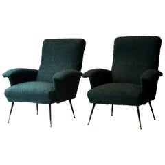 Midcentury Marco Zanuso Style Cotton Bouclé Pair of Armchairs, Italy, 1950