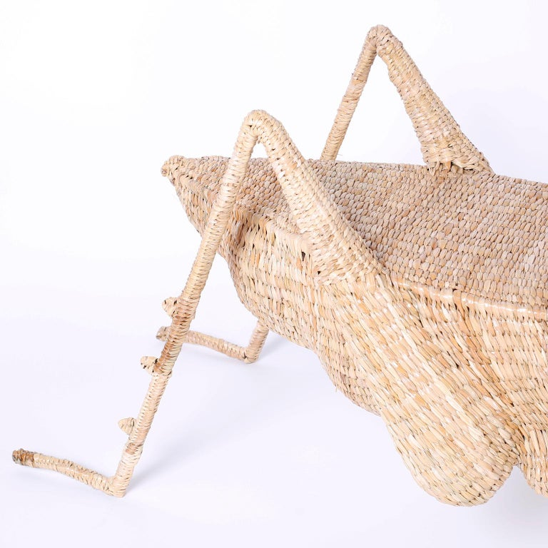 Organic Modern Midcentury Mario Torres Wicker Cricket Table, Pair Available For Sale