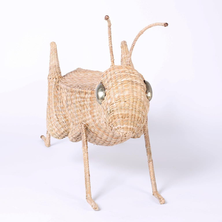 Mexican Midcentury Mario Torres Wicker Cricket Table, Pair Available For Sale