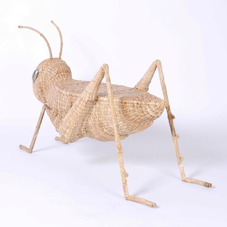 Contemporary Midcentury Mario Torres Wicker Cricket Table, Pair Available For Sale
