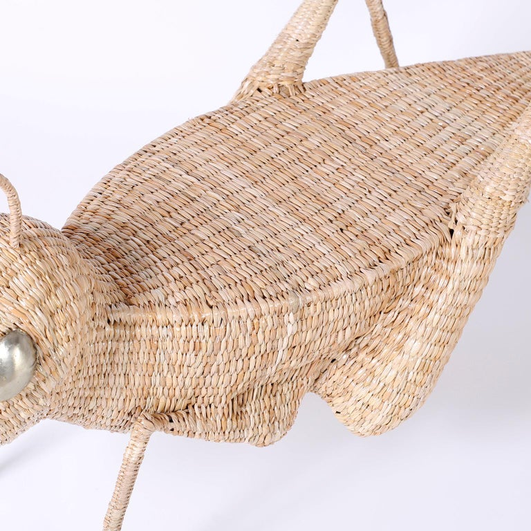 Midcentury Mario Torres Wicker Cricket Table, Pair Available For Sale 1