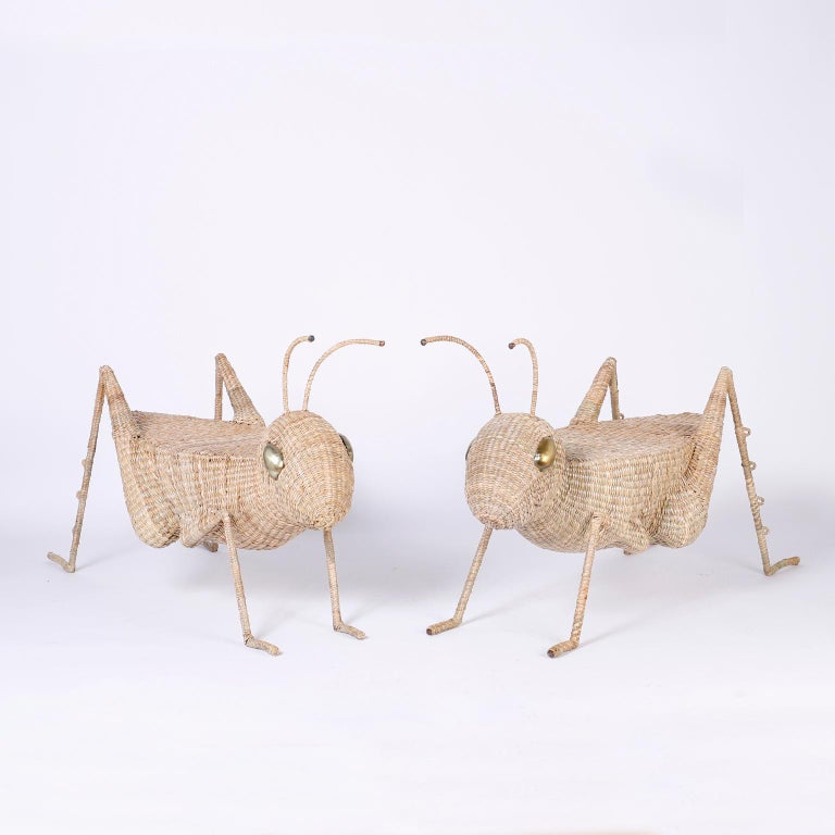 Midcentury Mario Torres Wicker Cricket Table, Pair Available For Sale 3