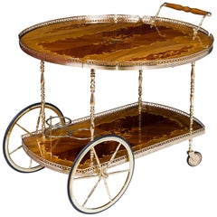 Mid Century Marquetry and Polished Brass Bar Cart Drinks Trolley
