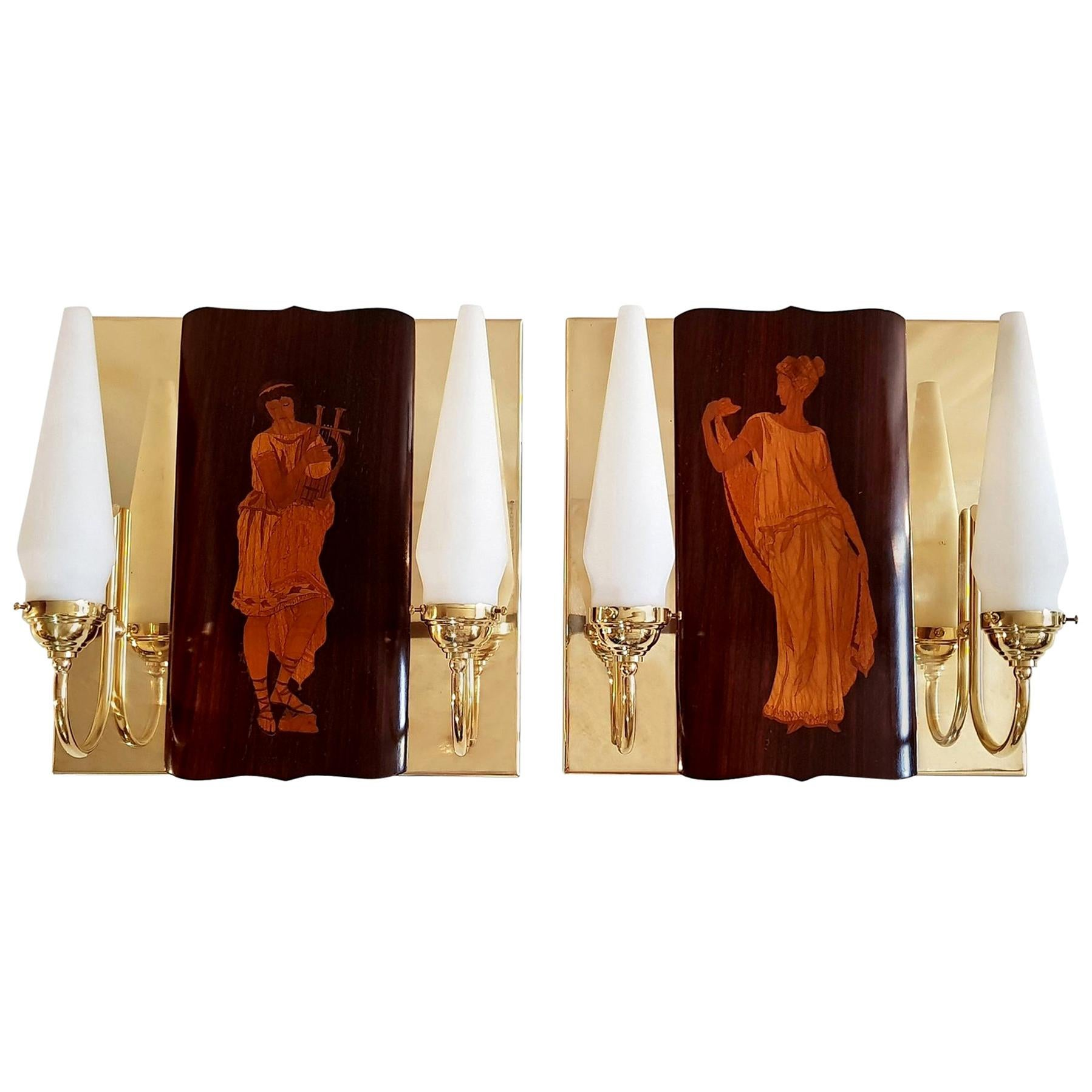 Mid-Century Marquetry Wall Sconces by Andrea Gusmai, Italy