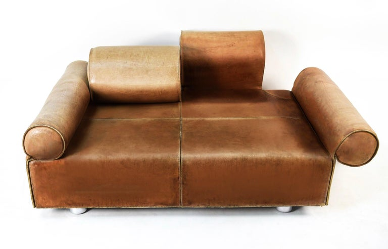 Mid-Century Modern Midcentury Marzio Cecchi Italian Cognac Two-Seat Sofa Daybed Loveseat, 1960s  For Sale