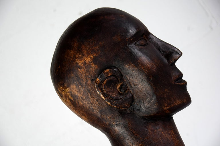 Mid-century Masculine Wooden Sculpture Testa For Sale 4