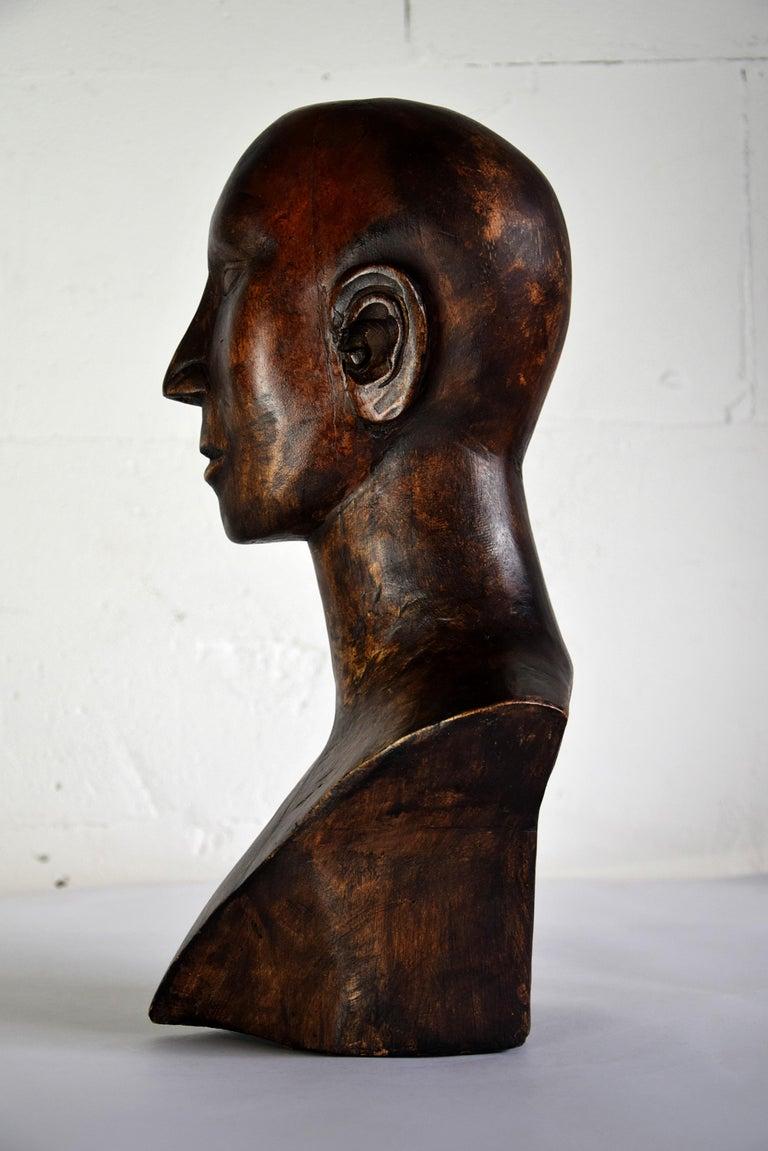 Mid-century Masculine Wooden Sculpture Testa For Sale 5