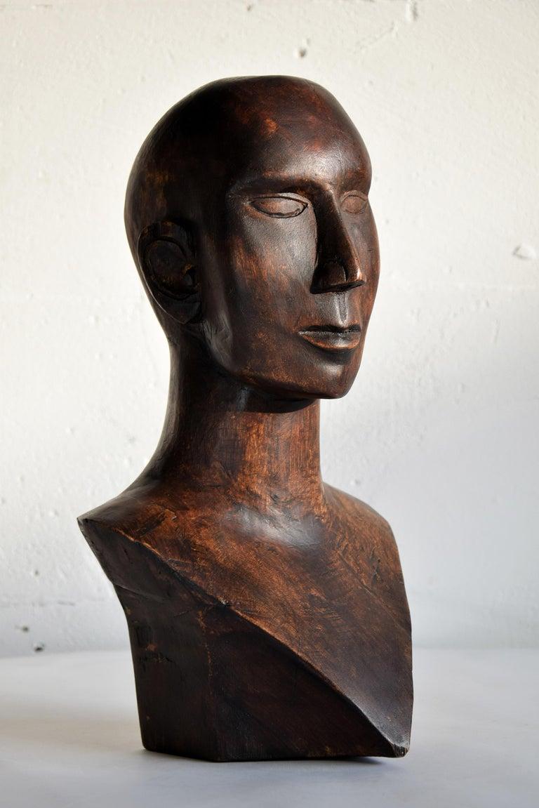 Mid-century Masculine Wooden Sculpture Testa For Sale 6