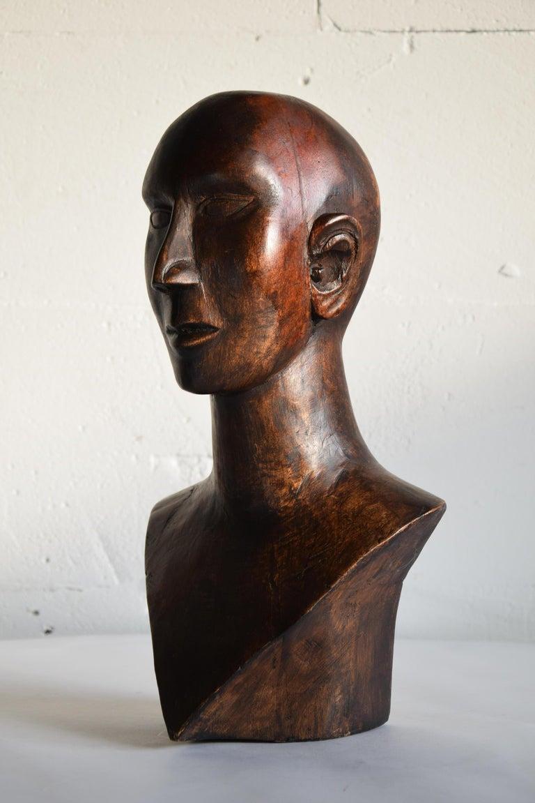 Mid-century Masculine Wooden Sculpture Testa For Sale 7