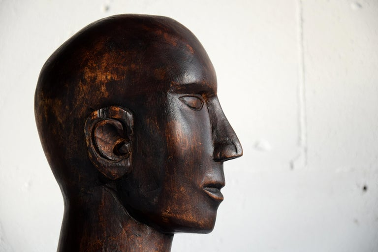 Mid-century Masculine Wooden Sculpture Testa For Sale 8