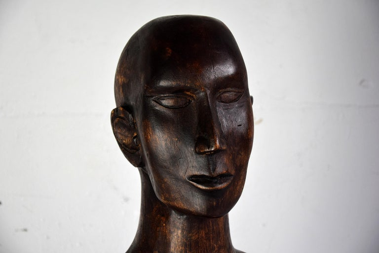 Mid-Century Modern Mid-century Masculine Wooden Sculpture Testa For Sale