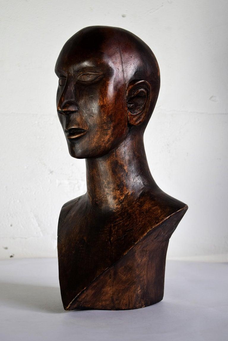 Mid-20th Century Mid-century Masculine Wooden Sculpture Testa For Sale