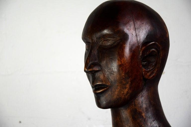 Mid-century Masculine Wooden Sculpture Testa For Sale 1