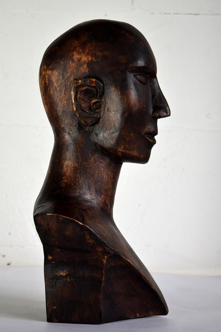 Mid-century Masculine Wooden Sculpture Testa For Sale 3