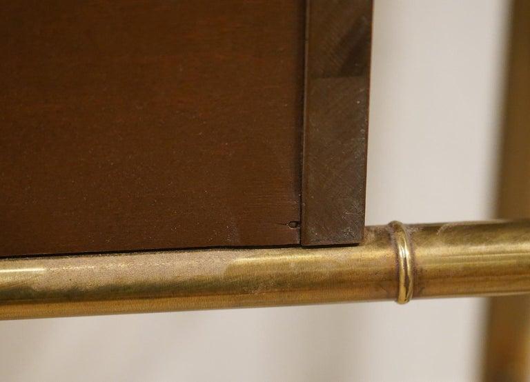 Midcentury Mastercraft Bamboo Style Brass and Burled Walnut Console Table 4