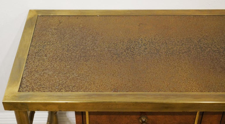 Mid-Century Modern Midcentury Mastercraft Bamboo Style Brass and Burled Walnut Console Table