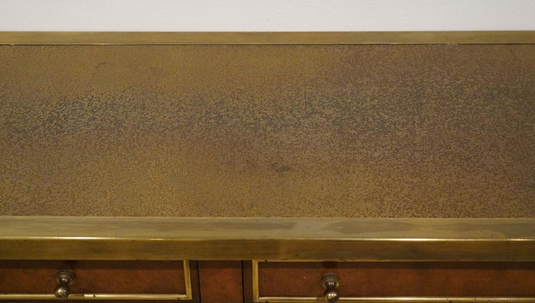 American Midcentury Mastercraft Bamboo Style Brass and Burled Walnut Console Table